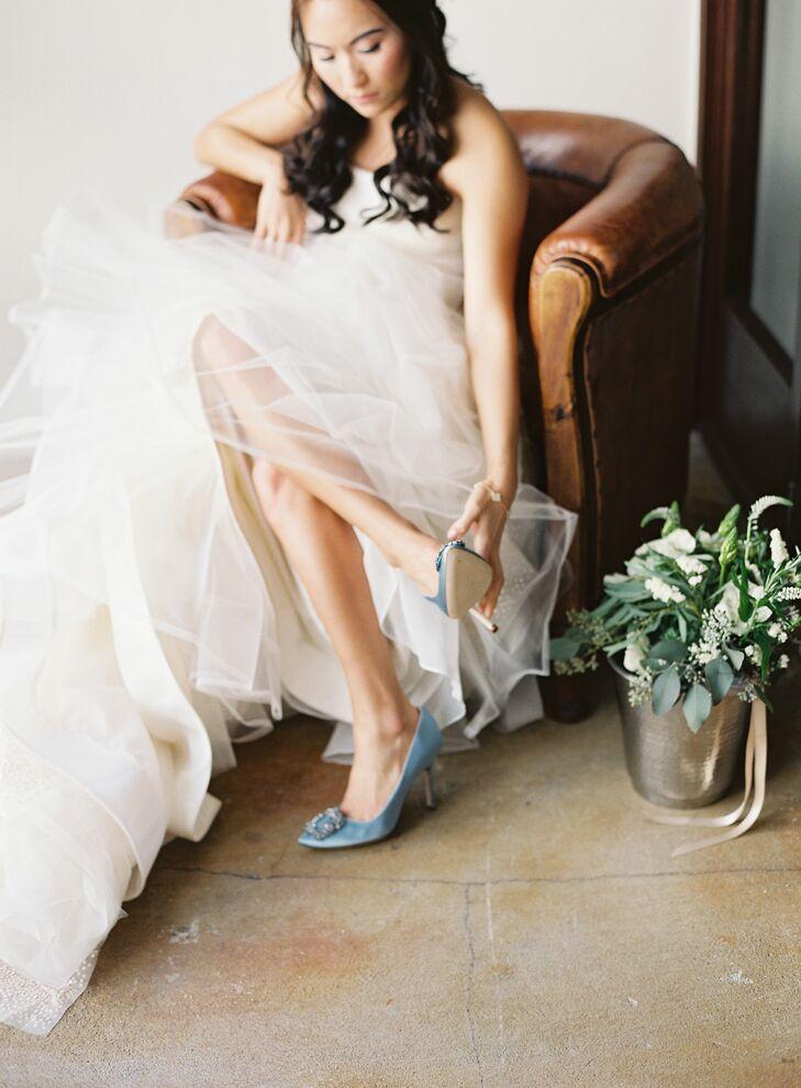 Blue Hangisi by Manolo Blahnik Wedding Shoes