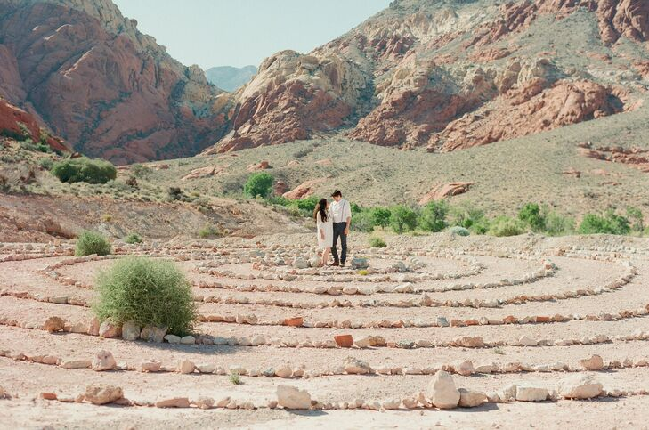 The interesting terrain provided a beautiful backdrop for the couple's romantic hike through Red Rock Canyon.