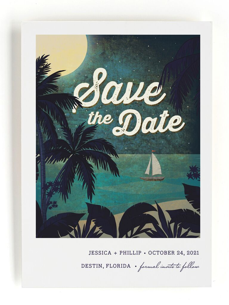 Minted beach destination wedding save-the-date
