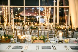 Pine and Gold Votive Candles in Vintage Boxes at Skyline Reception