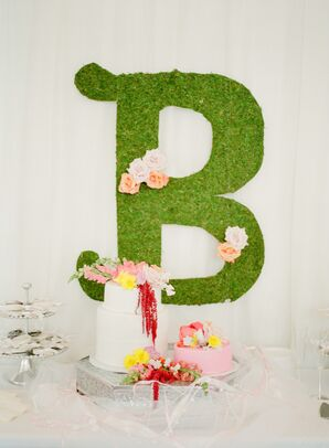 Preppy Cake Table with Boxwood Monogram Sign