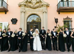 Romantic shades of blush, cream, black and gold lent an element of grandeur to Carolyn Dohnalek (25 and a nurse practitioner) and Brett Taylor's (24 a