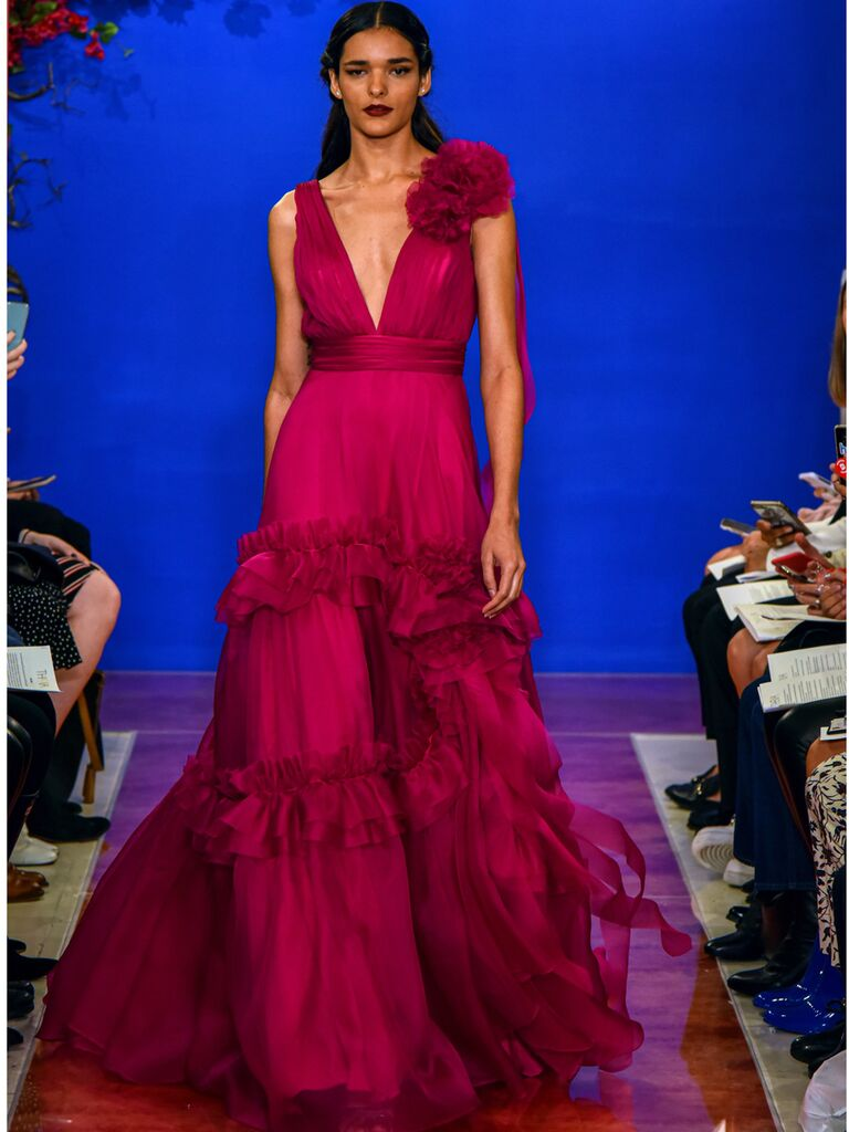 theia wedding dress fuchsia silk ball gown