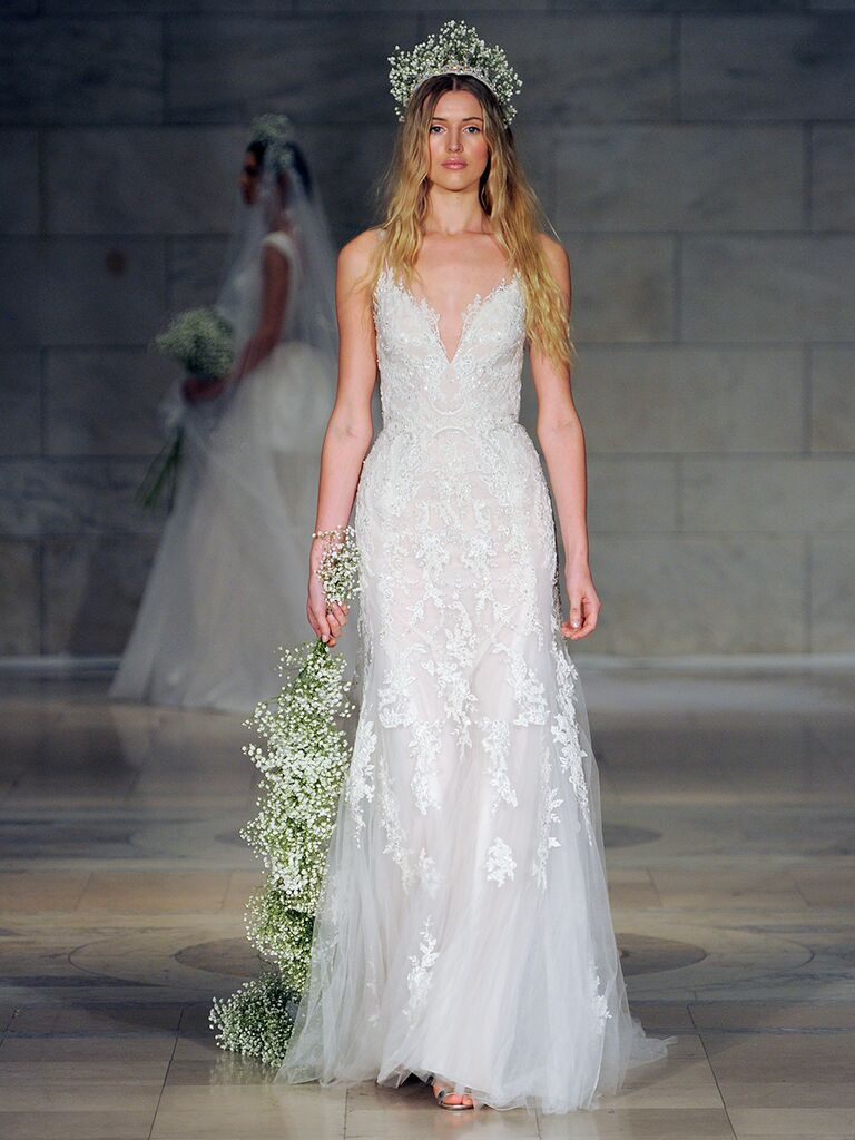Reem Acra Fall 2018 lace embroidered wedding dress with deep sweetheart neckline