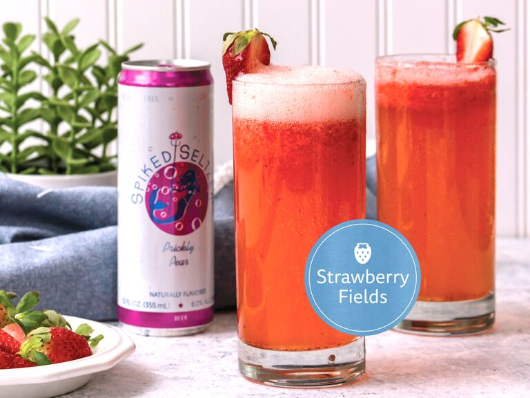 strawberry fields spiked seltzer cocktail