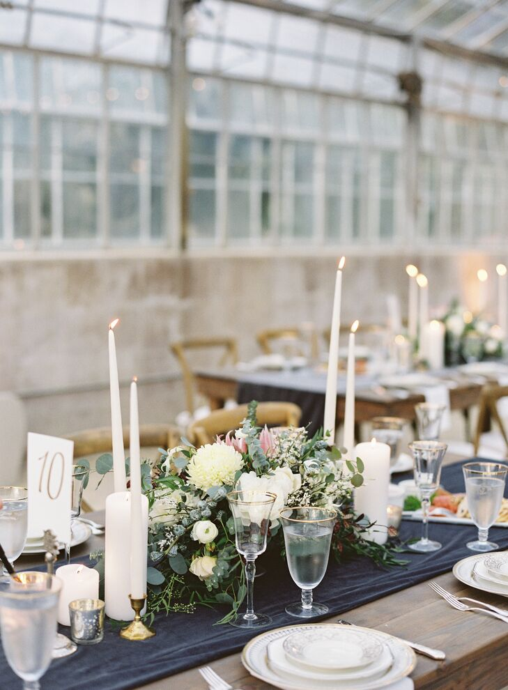 Tablescapes of Low Centerpieces and Tall Candles