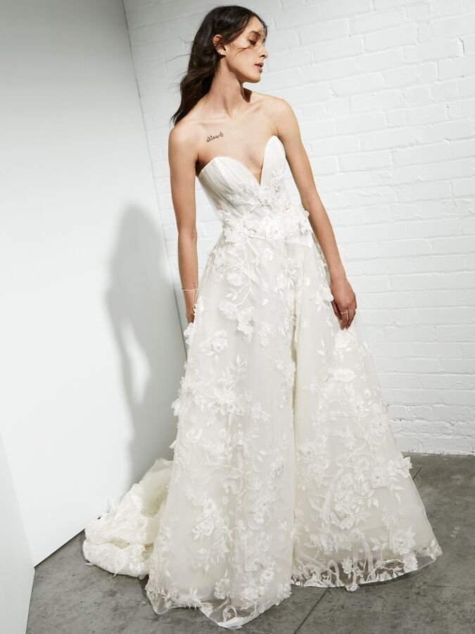 Rivini strapless ball gown with 3D embroidered lace