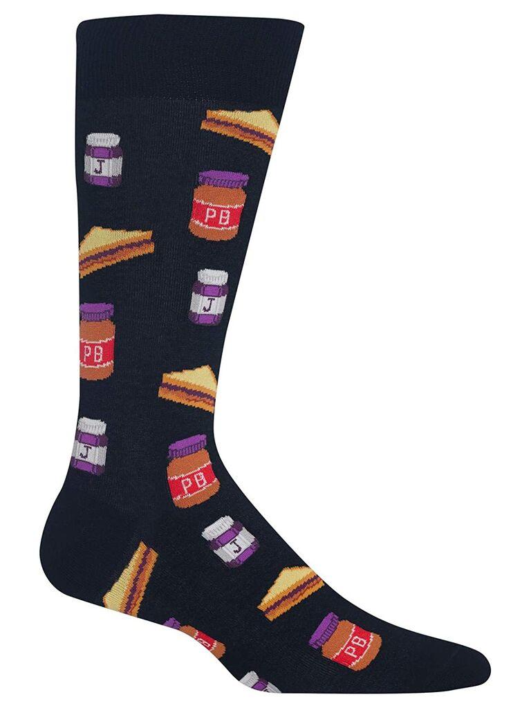 Peanut butter and jelly groomsmen socks