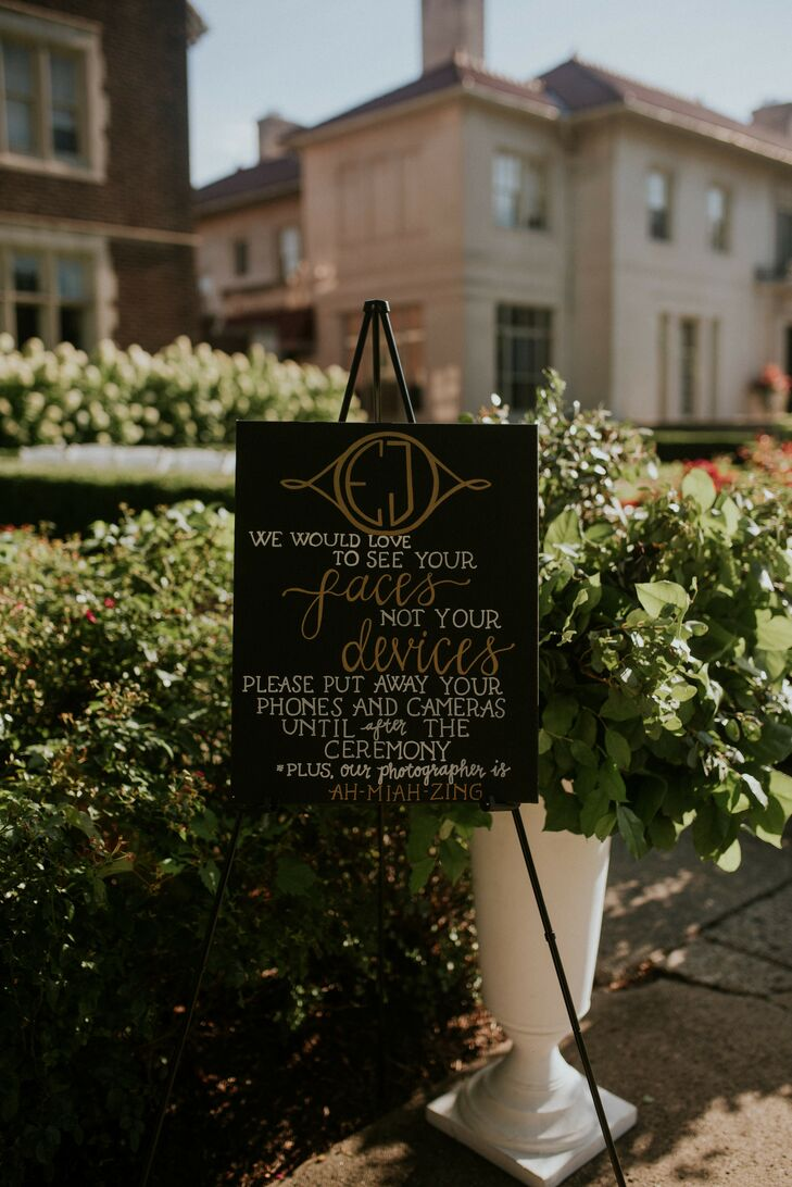 Modern Handwritten Black and Gold Sign