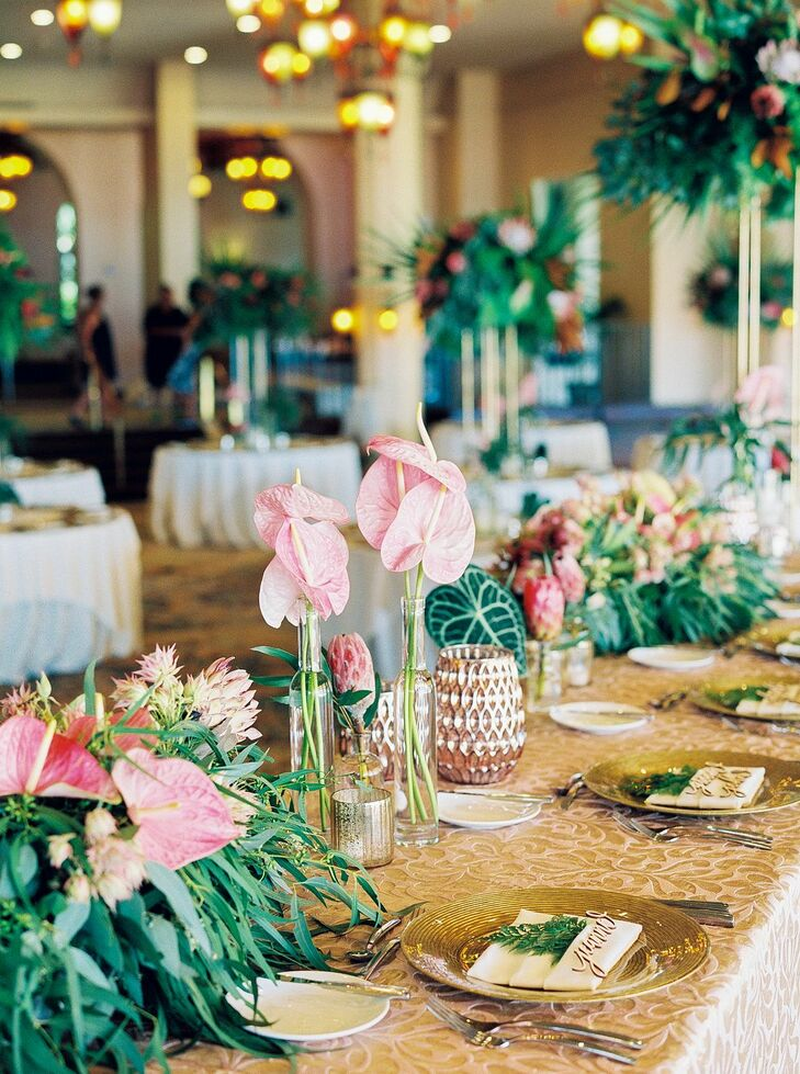 Tropical Floral Arrangements with Anthurium