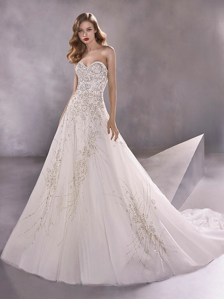 Atelier Provonias wedding dress beaded tulle ball gown