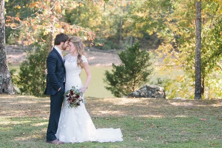 """Megan Posey (23 and a business manager) and Dean Glass (23 and a salesman) said """"I do"""" at Megan's family lake house, built about 15 years ago on Smith"""