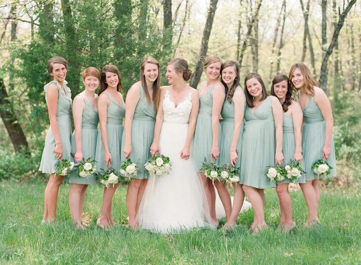 """53b151097895 The bridesmaids wore J Crew's dusty shale cocktail dresses. """"There are a  green,"""
