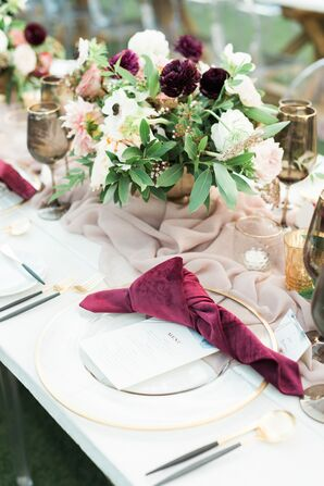 Romantic Place Setting with Pink Knotted Napkin
