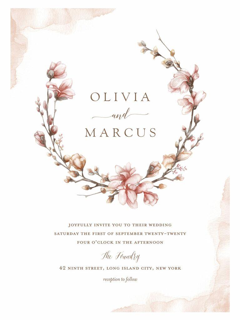 Shutterfly pink branch spring wedding invitation