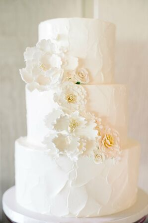 White Buttercream Cake with Frosted Carnations