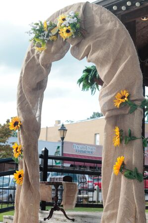 Burlap and Sunflower Wedding Arch