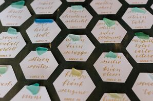 Hexagonal Escort Cards with Calligraphy and Sea Glass