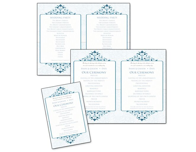classic blue victorian ceremony programs