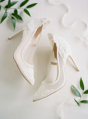 Classic White High Heels with Lace Appliques