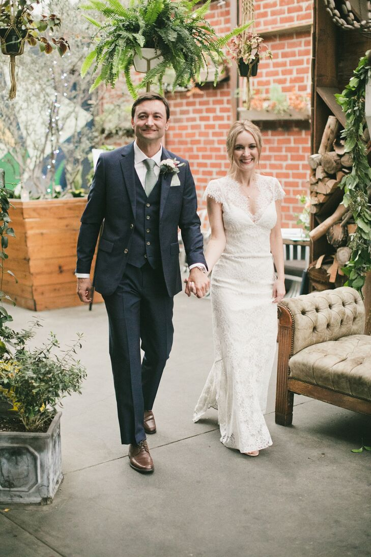 Romantic Lace Column Gown and Navy Three-Piece Suit