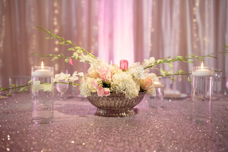 Blush and Ivory Bowl Centerpieces with Roses, Hydrangeas, and Orchids