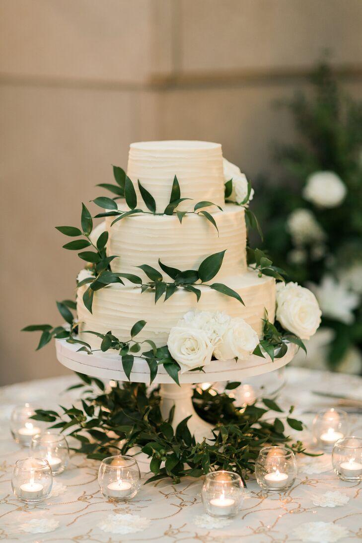 Almond Wedding Cake.Round Almond Wedding Cake With Fresh Greenery