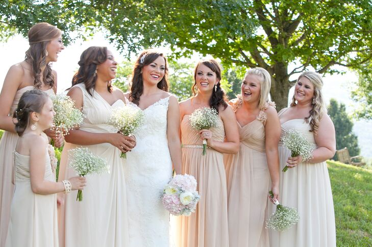 Long Nude Bridesmaid Dresses