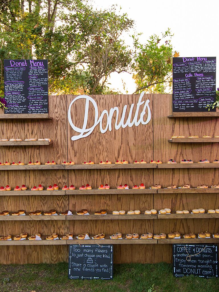 Wedding reception doughnut bar food station