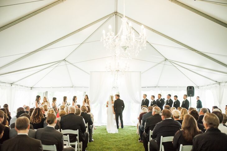 Ceremony Under Tent with Chandeliers