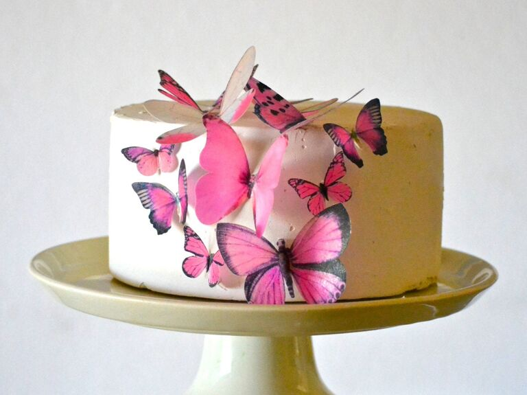 Pink butterfly wedding cake toppers