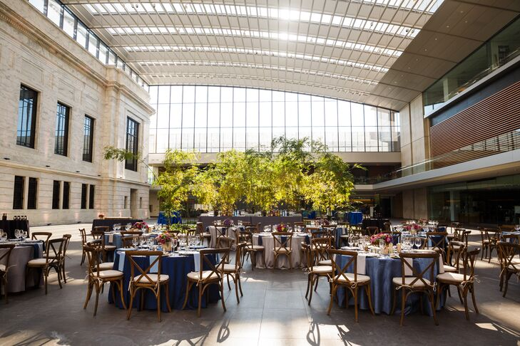 The reception took place inside the Cleveland Museum of Art's atrium, where natural light poured in through the large windows. This created a feeling of being outside, which seemed perfect for the garden-inspired theme that Bryan and Jackie brought to life.