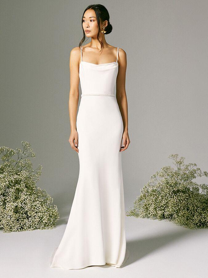 Savannah Miller A-line dress with slight cowl neckline