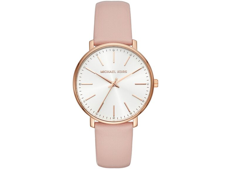 michael kors leather strap watch