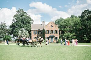 Outdoor Recessional with Horse and Carriage