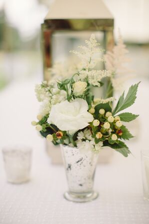 White Rose and Astilbe Centerpiece