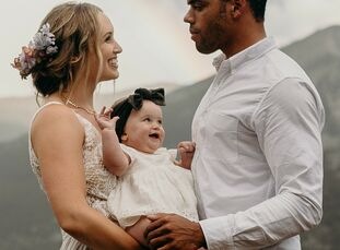 "Clare and Dez Dimond celebrated their love with a vow renewal ceremony in the Rocky Mountains. ""We really wanted to do this for our daughter and inclu"