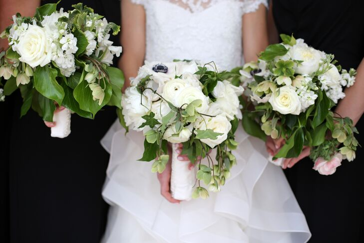 Classic Bouquets of White Roses and Greenery