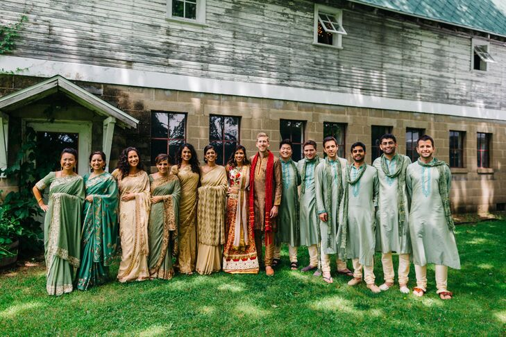 Gold and Sage Green Indian Wedding Party Attire