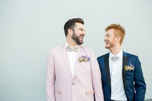 Fasionable Grooms in Pink and Blue Suits with Glam Accessories