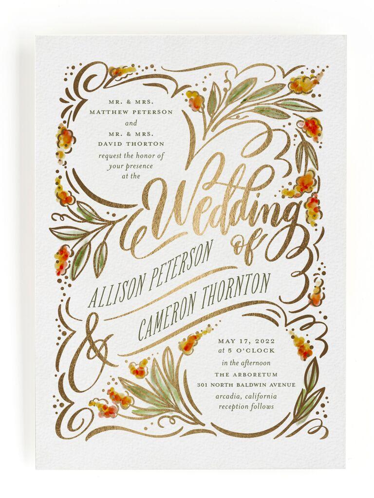 White and orange fall wedding invitation