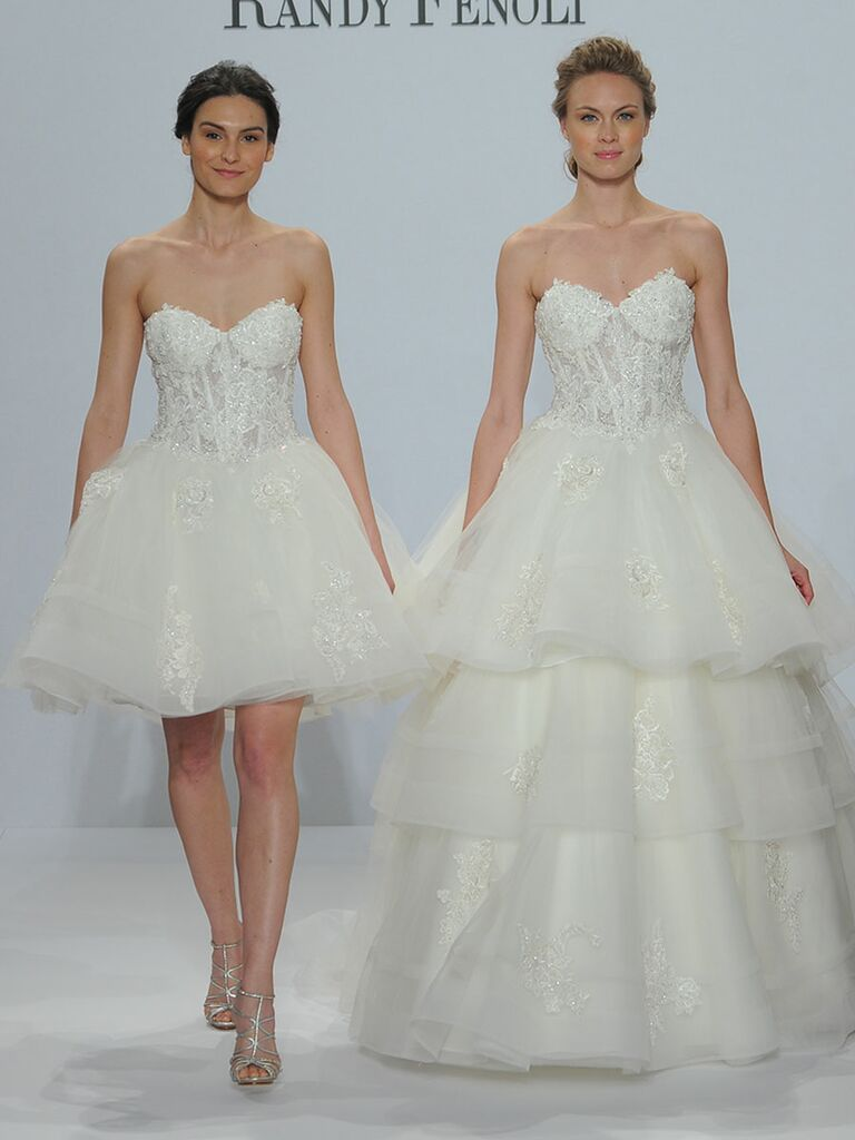 Randy Fenoli Spring 2018 strapless sweetheart boned-corseted bodice with beaded laces appliqués 3 tiered tulle skirt and removable underskirt
