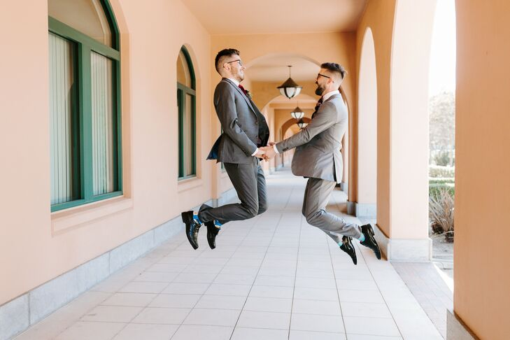 Jumping Wedding-Day Portraits in California