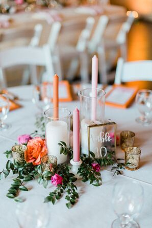 Pink and Orange Taper Candle Centerpiece with Acrylic Table Number