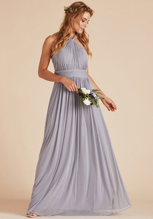 Birdy Grey Kiko Mesh Dress in Silver Halter Bridesmaid Dress