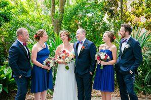Royal Blue, Red Wedding Party Attire