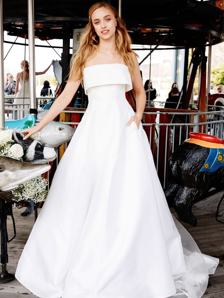 Lela Rose Spring 2020 Bridal Collection strapless A-line wedding dress