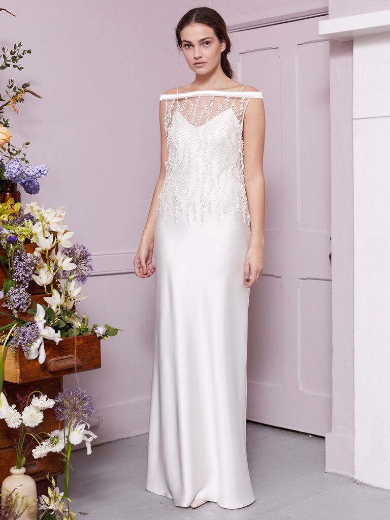 Halfpenny London 2020 Bridal Collection off-the-shoulder wedding dress with illusion detail