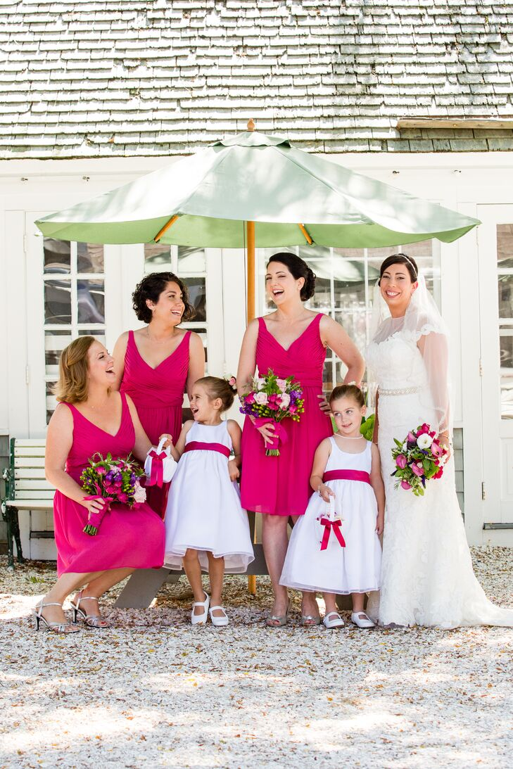 b59d56e81db4 Short, Hot Pink, Pleated Bridesmaid Dresses and Flower Girls with Pink  Sashes