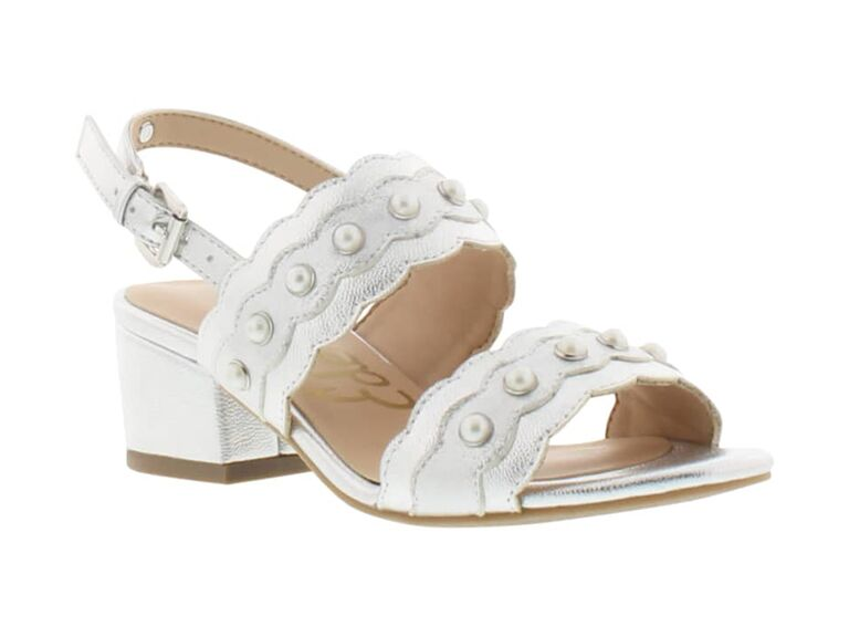 Silver sandal flower girl shoes